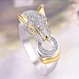 White&Yellow Gold Diamond Panther Cat Ring